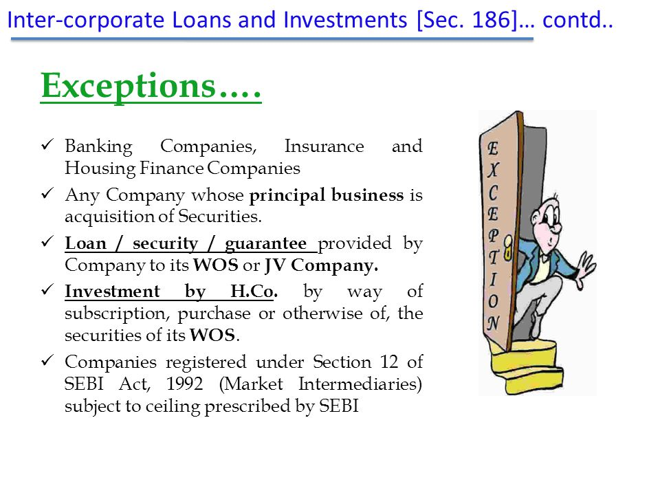Exceptions…. Inter-corporate Loans and Investments [Sec. 186]… contd..